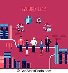 ville, concept, groupe, reussite, professionnels, collaboration, fond