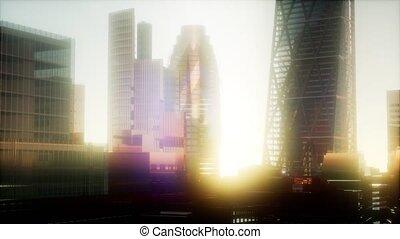 ville, concept, londres, coucher soleil