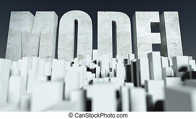 ville, concept, miniature, cityscape, modèle, 3d