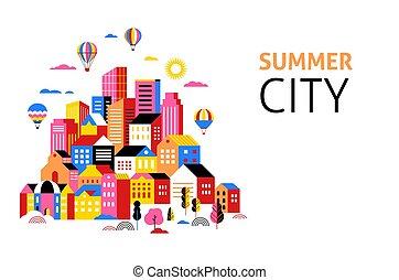 ville, concept, urbain, illustration, scène, paysage, bannière géométrique, intelligent