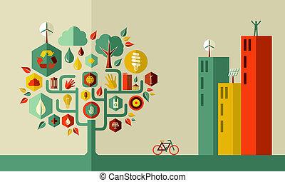 ville, concept, vert