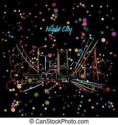 ville, conception, ton, route, nuit