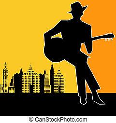 ville, concert, bleus, grand, guitare