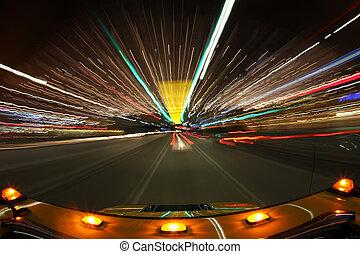ville, conduite, lumières, angeles, los, clair, vitesse