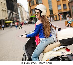 ville, conduite, scooter, jeune, gai, girl, européen