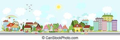 ville, confortable, printemps, conception, ton, paysage