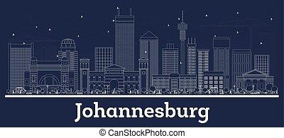 ville, contour, afrique, johannesburg, horizon, blanc, sud, bâtiments.