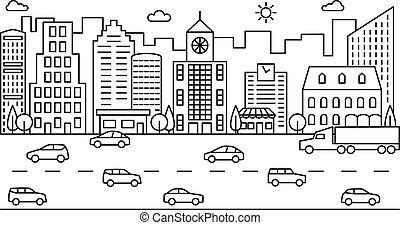 ville, contour, bâtiments, moderne, cars., scène, vecteur, route, rue., cityscape, ligne, urbain