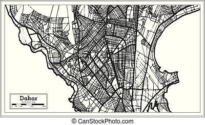 ville, contour, carte, map., sénégal, retro, dakar, style.