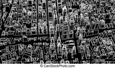 ville, contour, concept., illustration, vidéo, 3d
