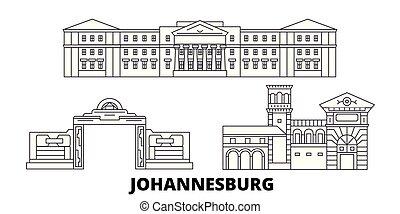 ville, contour, vues, illustration, voyage, landmarks., symbole, johannesburg, vecteur, afrique, ligne, horizon, sud, set.