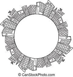 ville, copie, planète, espace