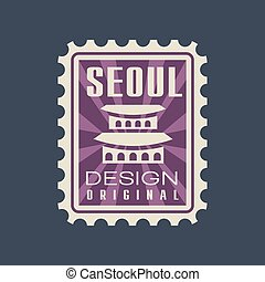 ville, corée, caption., séoul, plat, pourpre, palace., voyage, gyeongbokgung, couleur, vecteur, conception, repère, cachet poste, créatif, concept., sud, icône