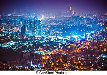 ville, corée, coup, séoul, panorama, -, nuit, namsan, tour, sud