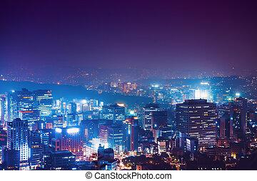 ville, corée, namsan, séoul, -, nuit, tour, sud, vue