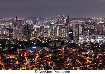 ville, corée, séoul, scénique, nuit, sud, vue