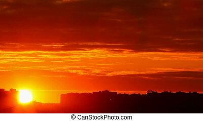 ville, coucher soleil, fond