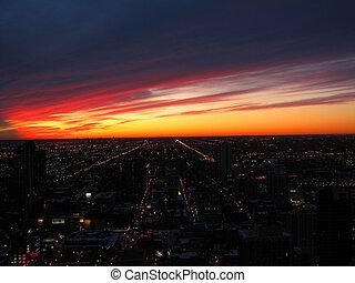 ville, coucher soleil, lumières
