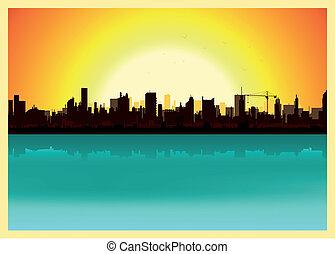 ville, coucher soleil, paysage