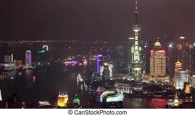 ville, coup, district, shanghai, timelaspe, pudong, nuit