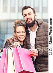 ville, couple, achats, jeune
