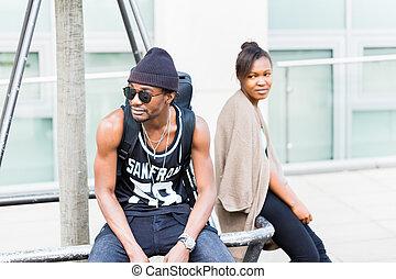 ville, couple, africaine