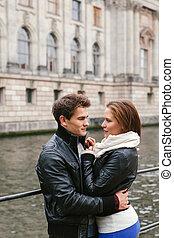ville, couple, amour, jeune