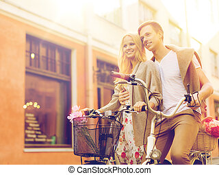 ville, couple, bicycles