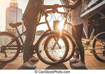 ville, couple, bicycles, romantique