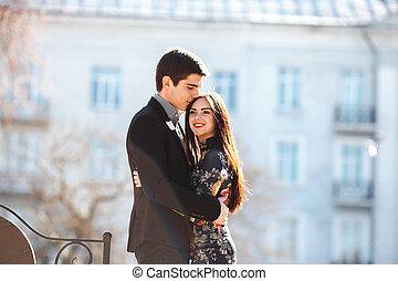 ville, couple, fond