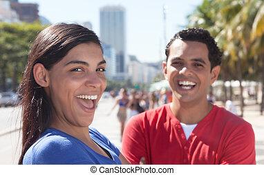 ville, couple, latin, heureux
