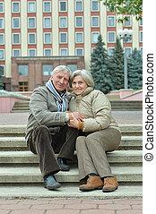ville, couple, mûrir