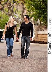 ville, couple, promenade
