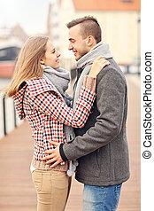 ville, couple, romantique