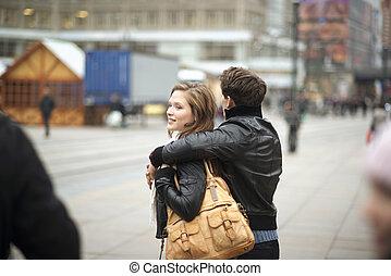 ville, couple, touriste
