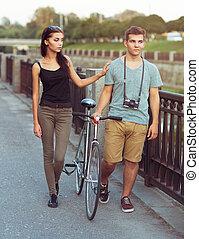 ville, couple, vélo, heureux