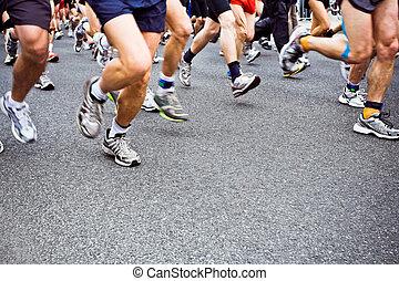 ville, courant, rue, marathon, gens