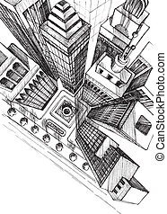 ville, croquis, aérien, gratte-ciel, dessin, vue dessus