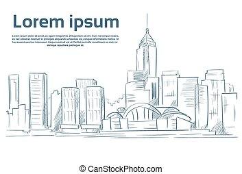 ville, croquis, horizon, vecteur, gratte-ciel, cityscape, ...