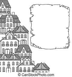 ville, croquis, maisons, conception, fond, ton