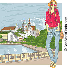 ville, croquis, mode, vieux, vecteur, élégant, girl