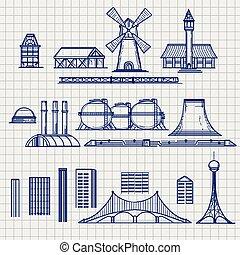 ville, croquis, objets, archetictural, pays