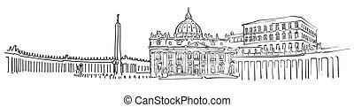 ville, croquis, vatican, panorama