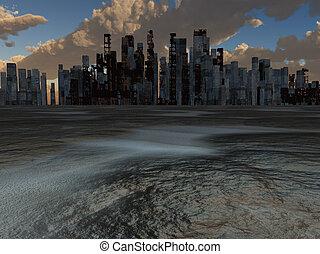 ville, cuit, abandonnés, la terre