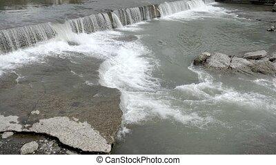ville, current., été, rapids., fort, rivière, jour