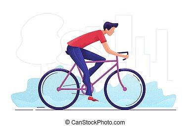 ville, cyclisme, jeune, illustration, vecteur, par, homme, park.