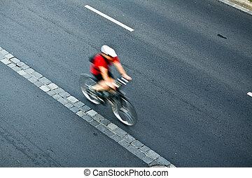 ville, cyclisme, mouvement, rue, barbouillage, homme