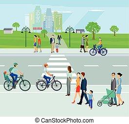 ville, cyclistes, piétons