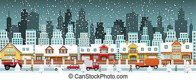 ville, dans, hiver