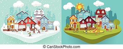 ville, dans, hiver, et, été